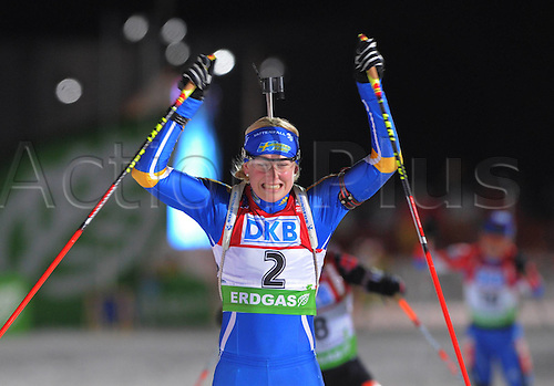 09.01.2011 IBU World Cup Biathlon from Oberhof Germany. Picture shows Helene Ekholm SWE celebrates her victory.