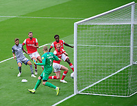 Rotherham United's Shaun MacDonald deflects a shot from Lincoln City's Tyler Walker into his own net, scoring the first goal of the game<br /> <br /> Photographer Chris Vaughan/CameraSport<br /> <br /> The EFL Sky Bet Championship - Rotherham United v Lincoln City - Saturday 10th August 2019 - New York Stadium - Rotherham<br /> <br /> World Copyright © 2019 CameraSport. All rights reserved. 43 Linden Ave. Countesthorpe. Leicester. England. LE8 5PG - Tel: +44 (0) 116 277 4147 - admin@camerasport.com - www.camerasport.com