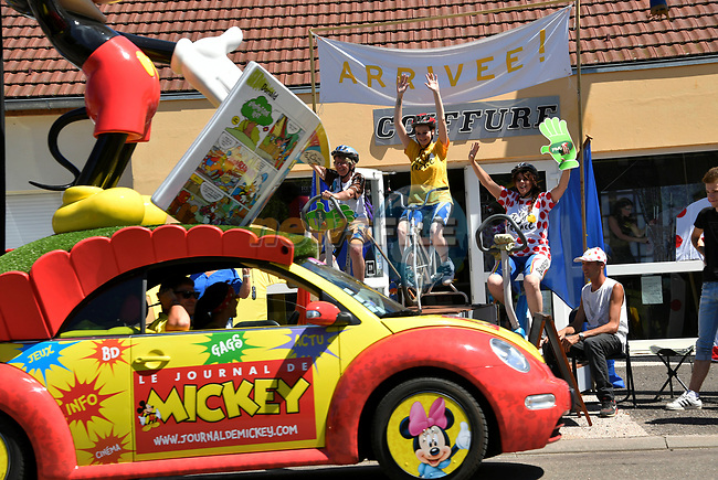 The publicity caravan gets underway before the start of Stage 5 of the 104th edition of the Tour de France 2017, running 160.5km from Vittel to La Planche des Belles Filles, France. 5th July 2017.<br /> Picture: ASO/Bruno Bade | Cyclefile<br /> <br /> <br /> All photos usage must carry mandatory copyright credit (&copy; Cyclefile | ASO/Bruno Bade)