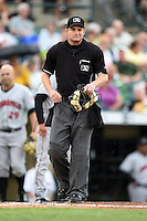 Umpire Brad Myers during a game between the Indianapolis Indians and Rochester Red Wings on July 26, 2014 at Frontier Field in Rochester, New  York.  Rochester defeated Indianapolis 1-0.  (Mike Janes/Four Seam Images)