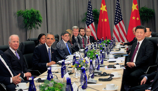 United States President Barack Obama holds a bilateral meeting with President Xi Jinping of the People's Republic of China at the Nuclear Security Summit in Washington, DC on March 31, 2016.<br /> Credit: Dennis Brack / Pool via CNP/MediaPunch