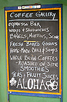 The Coffee Gallery restaurant offers coffee lovers a variety of island tastes. Located in the Northshore Marketplace near the town of Haleiwa on Oahu's north shore.