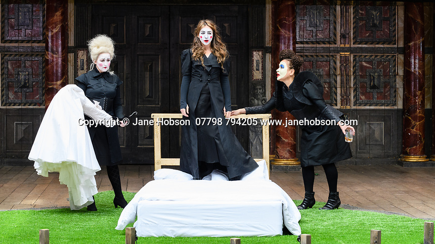 """Shakespeare's Globe presents ROMEO AND JULIET, by WIlliam Shakespeare, directed by Daniel Kramer, as part of Emma Rice's """"Summer of Love"""" season. Picture shows: Blythe Duff (Nurse), Kirsty Bushell (Juliet), Martina Laird (Lady Capulet)"""