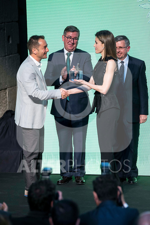 "Winner of the prize ""Gran Angular"", Alvaro Garcia Hernandez and Queen Letizia of Spain during the delivery of SM Awards of children's literature ""El Barco de Vapor"" and ""Gran Angular"" at Real Casa de Correos in Madrid. April 19,2016. (ALTERPHOTOS/Borja B.Hojas)"