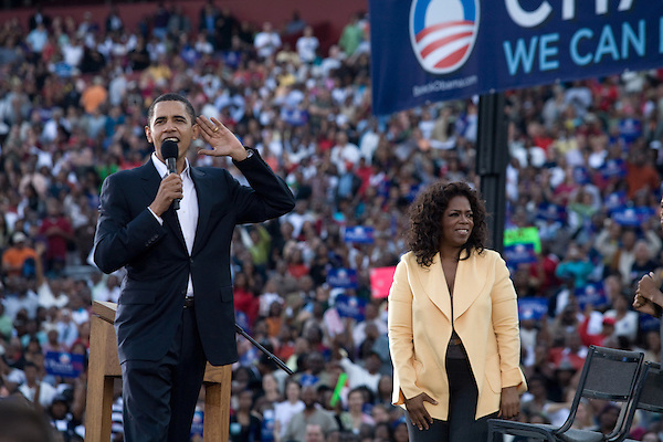 December 9, 2007. Columbia, SC.. Democratic presidential hopeful and US Senator, Barack Obama held a rally for an estimated 29,000 people at the University of South Carolina's football stadium with special guest Oprah Winfrey.. Barack Obama and Oprah.. .