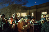 Namee Barakat is overcome with grief as he morns his son, Deah, with thousands of others who gathered for a vigil and memorial for three shooting victims at The Pit at The University of North Carolina at Chapel Hill in Chapel Hill, North Carolina on Wednesday, February 11, 2015. Craig Hicks, 46, of Chapel Hill has been charged with three counts of first-degree murder in the killings of Deah Barakat, 23, a UNC student; his wife, Yusor Abu-Salha, 21; and her sister, Razan Abu-Salha, 19. (Justin Cook)