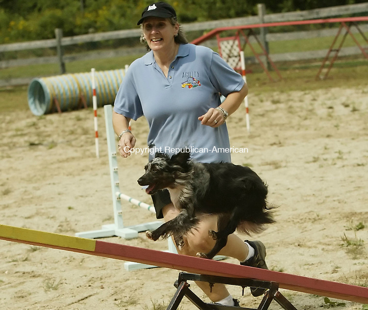 GOSHEN,  CT 17 September 2005 -091705BZ08- Devora Locke, of Olive, NY, and her dog &quot;Cipher&quot;  on the agility course during a benefit at the Canine Sports Center Saturday afternoon.  The event was a benefit for area and regional animal rescue groups.<br />  Jamison C. Bazinet / Republican-American