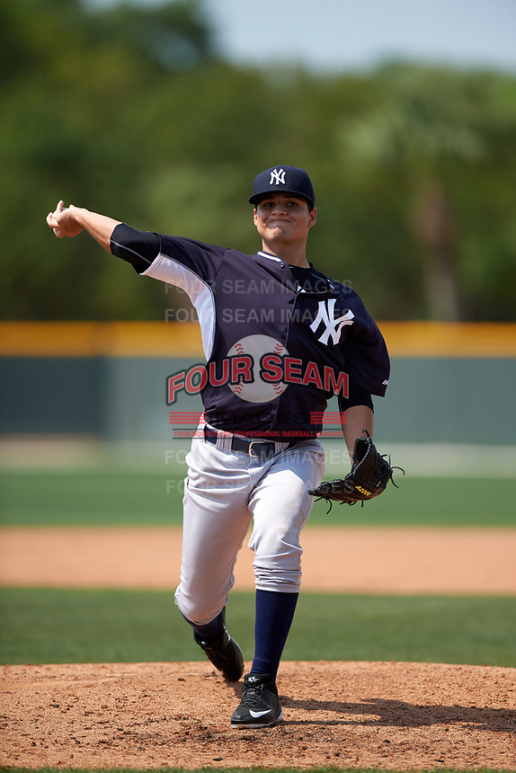 New York Yankees Dallas Martinez (17) during a minor league Spring Training game against the Pittsburgh Pirates on March 26, 2016 at Pirate City in Bradenton, Florida.  (Mike Janes/Four Seam Images)