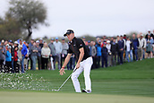 February 3rd 2019, Scottsdale, Arizona, USA;  Justin Thomas blasts out of the ninth hole bunker and across the green at the final round of the Waste Management Phoenix Open on February 3, 2019, at TPC Scottsdale in Scottsdale, Arizona.