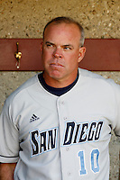 University of San Diego Toreros Head Coach Rich Hill during a game against the USC Trojans at Dedeaux Field on February 10, 2007 in Los Angeles, California. (Larry Goren/Four Seam Images)