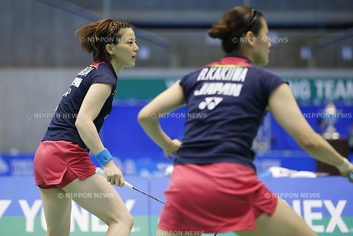 (L-R) Miyuki Maeda, Reika Kakiiwa, (JPN),  June 15, 2014 - Badminton : Yonex Open Japan 2014 Women's Doubles final at Tokyo Metropolitan Gymnasium, Tokyo, Japan. (Photo by Yusuke Nakanishi/AFLO SPORT) [1090]