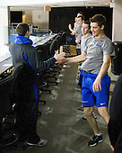 The Air Force Academy Falcons warm up on the upstairs concourse on Friday morning, March 25, 2011, during the East Regional at Webster Bank Arena at Harbor Yard in Bridgeport, Connecticut.