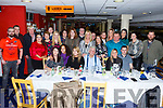 Noel Drury from Ballyheigue celebrating his 80th birthday in the Kingdom Greyhound track on Friday night.<br /> Seated l-r, Ann O'Leary, Natasha McCrohan, Noel Drury, Aisling Hussey and Matthew McCrohan.