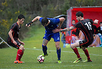 Action from the 2018 Central League football match between the Western Suburbs and Napier City Rovers at Endeavour Park in Wellington, New Zealand on Sunday, 1 July 2018. Photo: Dave Lintott / lintottphoto.co.nz