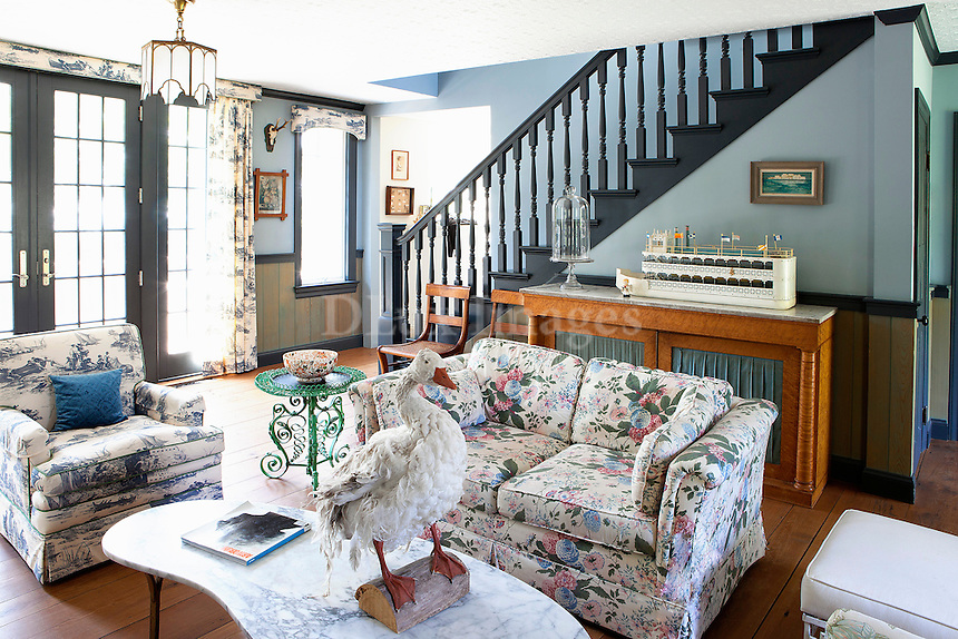 floral lounge sofa and armchair