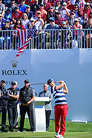 Kevin Chappell (USA) watches his tee shot on 1 during round 4 Singles of the 2017 President's Cup, Liberty National Golf Club, Jersey City, New Jersey, USA. 10/1/2017. <br /> Picture: Golffile | Ken Murray<br /> <br /> All photo usage must carry mandatory copyright credit (&copy; Golffile | Ken Murray)