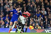 5th November 2017, Stamford Bridge, London, England; EPL Premier League football, Chelsea versus Manchester United; Alvaro Morata of Chelsea fouls Eric Bailly of Manchester Utd