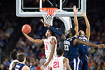 02 APR 2016: Guard Buddy Hield (24) of the University of Oklahoma shoots a basket in front of Forward Daniel Ochefu (23) and Guard Phil Booth (5) of Villanova University during the 2016 NCAA Men's Division I Basketball Final Four Semifinal game held at NRG Stadium in Houston, TX.  Brett Wilhelm/NCAA Photos