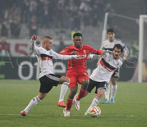 26.02.2015. Atatürk Olympic Stadium, Istanbul, Turkey.  UEFA Europa League Round of 32 second leg match between Besiktas JK and Liverpool FC on February 26, 2015 in Istanbul, Turkey. Gokhan Tore (L) and Veli Kavlak (R) of Besiktas and Daniel Sturridge of Liverpool.