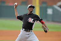 Pitcher C.J. Edwards (6) of the Hickory Crawdads in a game against the Greenville Drive on Sunday, June 9, 2013, at Fluor Field at the West End in Greenville, South Carolina. Edwards is the No. 14 prospect of the Texas Rangers, according to Baseball America. Hickory won, 6-3. (Tom Priddy/Four Seam Images)