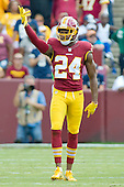 Washington Redskins cornerback Josh Norman (24) tries to get the crowd to make some noise in first quarter action against the Dallas Cowboys at FedEx Field in Landover, Maryland on Sunday, September 18, 2016.  The Cowboys won the game 27 - 23.<br /> Credit: Ron Sachs / CNP