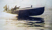 BNPS.co.uk (01202 558833)<br /> Pic: RobertMorley/BNPS<br /> <br /> Manned CMB at speed.<br /> <br /> The world's first drone boat is rediscovered - after 100 years in the shadows.<br /> <br /> A historic British torpedo boat, which was converted into the world's first remotely controlled 'drone vessel' as part of a top secret project at the end of the Great War has been painstakingly researched and restored after being discovered rotting in a West country boatyard.<br /> <br /> The pioneering CMB9/DCB1 was one of 12 Coastal Motor Boats (CMBs) built by the Admiralty in 1916 to target German destroyers.<br /> <br /> The fast, lightweight 40ft motor torpedo boat, which could travel at 40 knots, sunk the German destroyer G88 off Zebrugge in Belgium in 1917.<br /> <br /> Subsequently, it was one of four vessels converted into Distance Control Boats (DCBs) for top secret trials to see if unmanned patrol boats with torpedoes could be radio controlled via aircraft and directed towards enemy targets.<br /> <br /> The boat was found in a sorry state covered in brambles in a boat yard in Weston-super-Mare, Somerset, by marine surveyor Robert Morley a decade ago, who has spent tens of thousands of pounds restoring and researching it's colourful history.