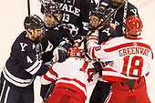 Matt Foley (Yale - 4), Charlie Curti (Yale - 23), Bobo Carpenter (BU - 14), John Hayden (Yale - 21), Jordan Greenway (BU - 18) The Boston University Terriers defeated the visiting Yale University Bulldogs 5-2 on Tuesday, December 13, 2016, at the Agganis Arena in Boston, Massachusetts.