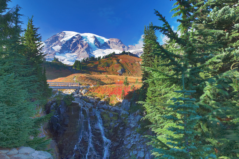 Mrytle Falls and Mt. Rainier with low clouds. Mt. Rainier National Park. Washington