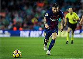 4th November 2017, Camp Nou, Barcelona, Spain; La Liga football, Barcelona versus Sevilla; Leo Messi chases the through ball during the match
