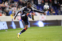 Sainey Nyassi (17) of the New England Revolution. The New York Red Bulls defeated the New England Revolution 2-0 during a Major League Soccer (MLS) match at Red Bull Arena in Harrison, NJ, on October 21, 2010.
