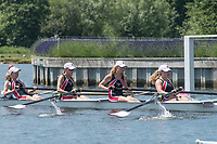 Henley. Berks, United Kingdom. <br /> <br /> J4+ St. Paul's School, Concord, NH. USA , coming off the Island, during their heat at the 2017 Henley' Women's Regatta. Rowing on, Henley Reach. River Thames. <br /> <br /> <br /> Saturday  17/06/2017<br /> <br /> <br /> [Mandatory Credit Peter SPURRIER/Intersport Images]