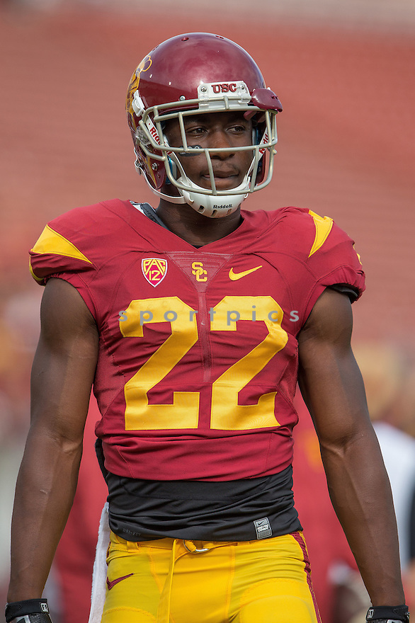 USC Trojans Justin Davis (22) during a game against the Idaho Vandals on September 12, 2015 at the LA Coliseum in Los Angeles, CA. USC beat Idaho 59-9.