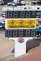 Oct 29, 2016; Las Vegas, NV, USA; Pennzoil logo signage on scoreboards during NHRA qualifying for the Toyota Nationals at The Strip at Las Vegas Motor Speedway. Mandatory Credit: Mark J. Rebilas-USA TODAY Sports
