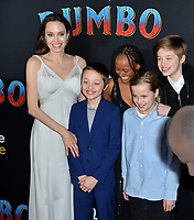 """LOS ANGELES, CA. March 11, 2019: Angelina Jolie & Family at the world premiere of """"Dumbo"""" at the El Capitan Theatre.<br /> Picture: Paul Smith/Featureflash"""
