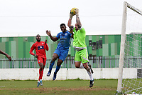 Michael Dixon of Barking is denied by Craig Bradshaw during Barking vs South Park, BetVictor League South Central Division Football at Mayesbrook Park on 7th March 2020