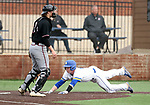 SIOUX FALLS, SD - APRIL 6: Ryan McDonald dives safely into home to tie the game in the 8th inning against Nebraska Omaha Saturday in Sioux Falls.  (Photo by Dave Eggen/Inertia)