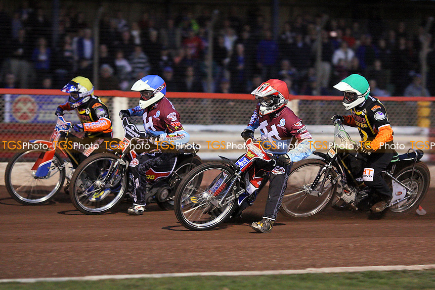 Heat 2: Stuart Robson (blue), Phil Morris (red), Hynek Stichauer (green) and Joe Haines (yellow) - Lakeside Hammers vs Wolverhampton Wolves - Sky Sports Elite League Speedway at Arena Essex Raceway, Purfleet - 01/05/09 - MANDATORY CREDIT: Gavin Ellis/TGSPHOTO - Self billing applies where appropriate - 0845 094 6026 - contact@tgsphoto.co.uk - NO UNPAID USE.