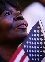 8/25/08 7:29:47 PM -- Denver, CO, U.S.A. -- Democratic National Convention -- .Margie Woods, of Chicago, Illinois, listens to Michelle Obama's speech Monday evening at the Pepsi Center in Denver...Photo by Pat Shannahan, Gannett.