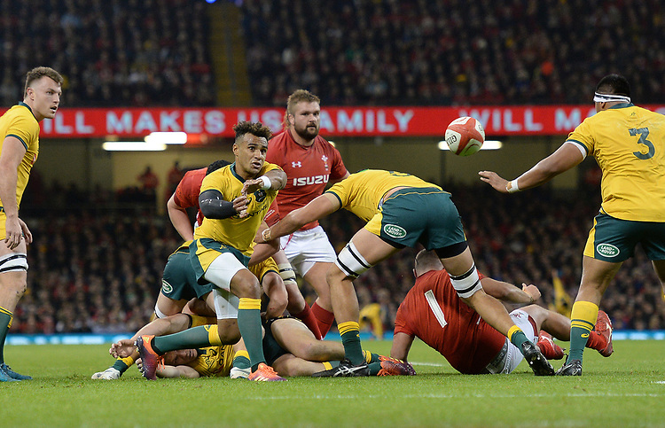 Australia's Will Genia whips the ball out <br /> <br /> Photographer Ian Cook/CameraSport<br /> <br /> Under Armour Series Autumn Internationals - Wales v Australia - Saturday 10th November 2018 - Principality Stadium - Cardiff<br /> <br /> World Copyright © 2018 CameraSport. All rights reserved. 43 Linden Ave. Countesthorpe. Leicester. England. LE8 5PG - Tel: +44 (0) 116 277 4147 - admin@camerasport.com - www.camerasport.com
