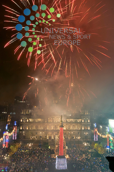 More than 50,000 people looked on as the switching on of Glasgow's Christmas lights was marked by a fireworks display in George Square, Scotland..Maurice McDonald/Universal News and Sport.. .18/November/2007. .. .