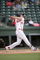 Right fielder Tyler Esplin (25) of the Greenville Drive bats in a game against the Hickory Crawdads on Wednesday, May 15, 2019, at Fluor Field at the West End in Greenville, South Carolina. Greenville won, 6-5. (Tom Priddy/Four Seam Images)