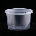 Clear plastic pint container for takeout foods, empty