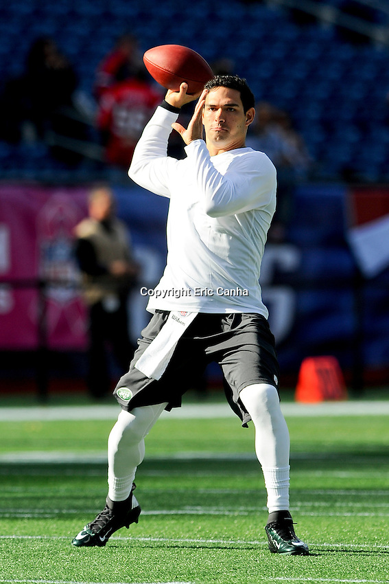 October 21, 2012 New York Jets quarterback Mark Sanchez (6) warms up before the New England Patriots vs New York Jets game played at Gillette Stadium in Foxborough, Massachusetts.   Eric Canha/CSM