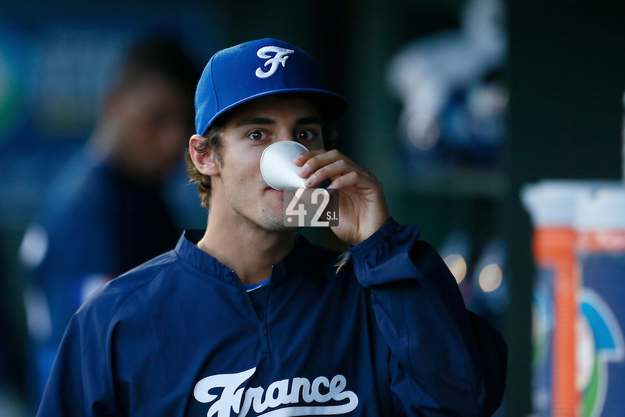 20 September 2012: Eloi Secleppe is seen in the dugout during Spain 8-0 win over France, at the 2012 World Baseball Classic Qualifier round, in Jupiter, Florida, USA.