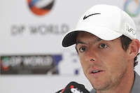 Rory McIlroy (NIR) speaking during the press conference of the DP World Tour Championship, Jumeirah Golf Estates, Dubai, UAE.  17/11/2015.<br /> Picture: Golffile | Fran Caffrey<br /> <br /> <br /> All photo usage must carry mandatory copyright credit (&copy; Golffile | Fran Caffrey)