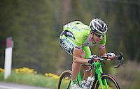 Marco Canola (ITA/Bardiani Valvole - CSF Inox)  descending the Passo San Pellegrino (1918m) in the rain<br /> <br /> 2014 Giro d'Italia<br /> stage 18: Belluno - Rifugio Panarotta (Valsugana), 171km