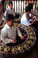 Cambodian Gongs - Cambodian folk music is highly influenced by ancient as well as Hindu forms. Pinpeat orchestras are made up of bamboo xylophone, gongs and various kinds of drums