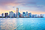 Skyline of downtown Miami, Florida looking toward the Brickell neighborhood on Biscayne Bay, Brickell is one of the largest financial districts in the United States and also has many high-rise residential condominium and apartment towers