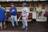 OAKLAND, CA - AUGUST 19:  Bench coach Bob Geren #7 and David Wright #5 of the New York Mets get ready in the dugout before the game against the Oakland Athletics at O.co Coliseum on Tuesday, August 19, 2014 in Oakland, California. Photo by Brad Mangin