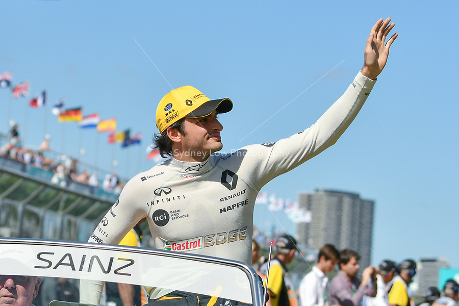 March 25, 2018: Carlos Sainz Jnr (ESP) #55 from the Renault Sport F1 team waves to the crowd during the drivers' parade at the 2018 Australian Formula One Grand Prix at Albert Park, Melbourne, Australia. Photo Sydney Low